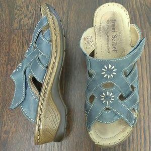 Josef Seibel blue slide on wedge sandals